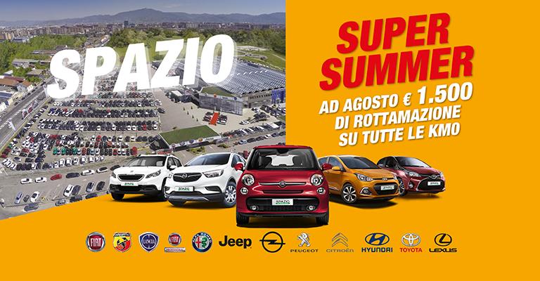 Super Summer Spazio Solo da Spazio la tua prossima <b>auto km0</b><br> con un <b>mega sconto di 1.500 euro</b>